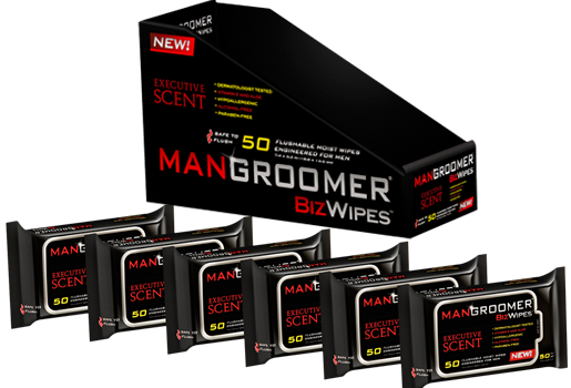 MANGROOMER Man Wipes display case with six packages